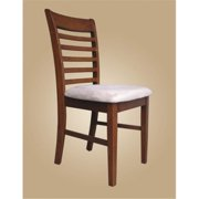 East West MC-SBR-C Milan ladder back chairs with upholstered seat, Saddle Brown - Pack of 2