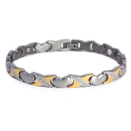 Novoa Women 's Quad-Element Titanium Two-Tone Silver and Gold Magnetic Bracelet with Satin Accents - 12,800 Gauss
