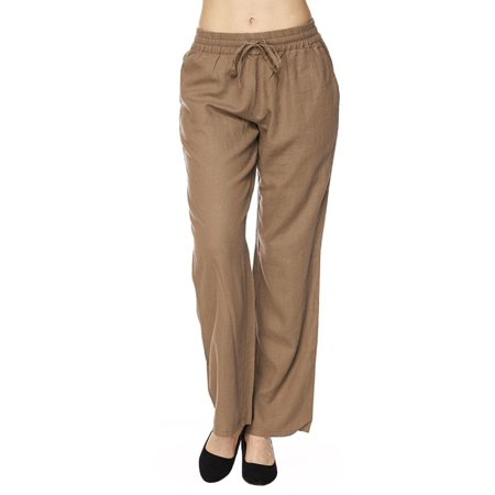 Made by Olivia Women's Comfy Drawstring Linen Pants with Pocket (S-3XL) Mocha - Linen Blend Drawstring
