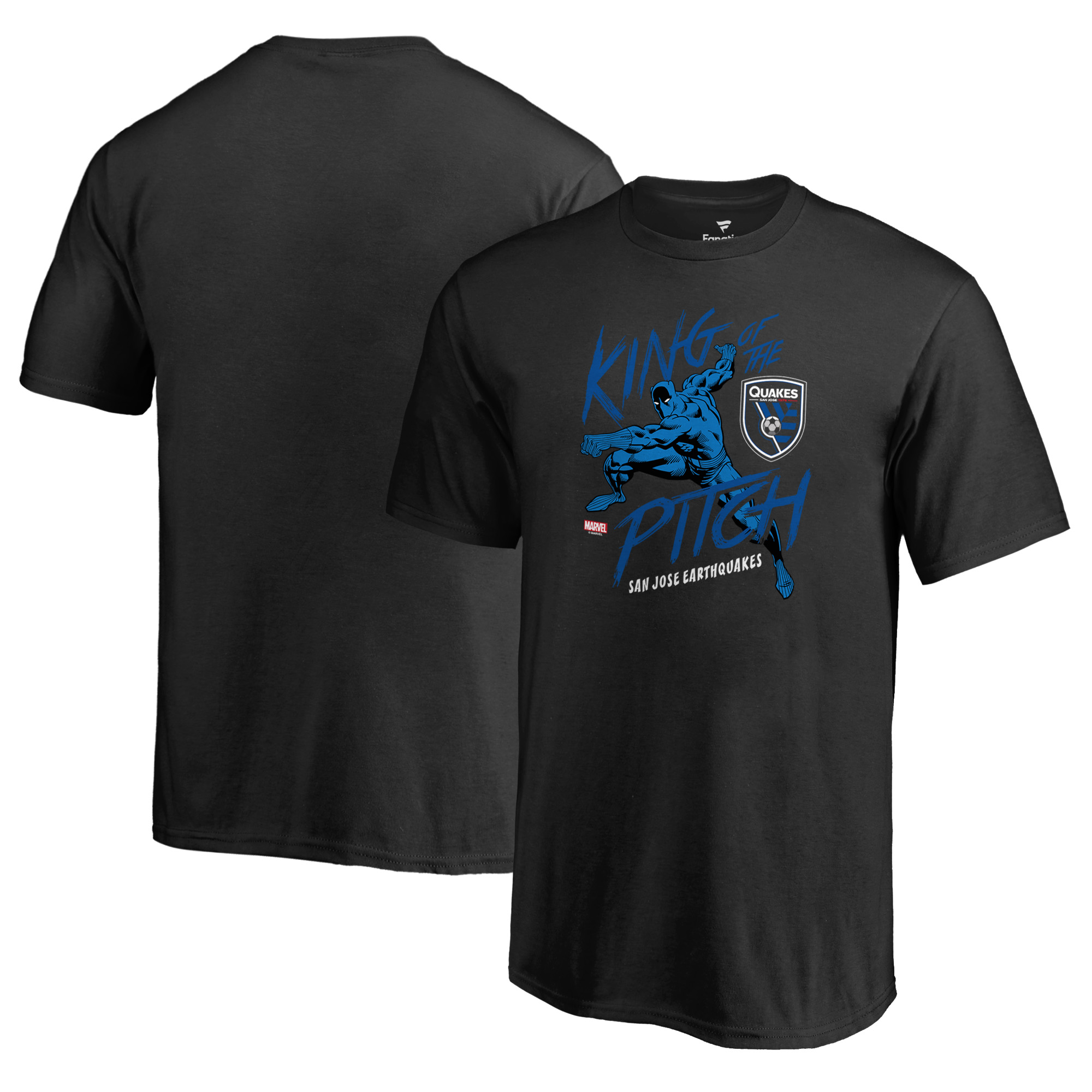 San Jose Earthquakes Fanatics Branded Youth MLS Marvel Black Panther King of the Pitch T-Shirt - Black