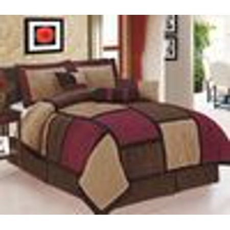 Legacy Decor 7 piece Burgundy, Brown and Beige Micro Suede Patchwork Comforter Set Machine Washable King Size, Bed-in-a
