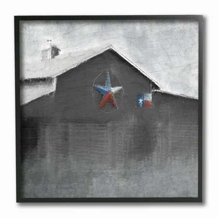 The Stupell Home Decor Collection Southern Barn with Americana Star Painting Framed Giclee Texturized Art, 12 x 1.5 x 12