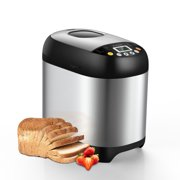 Sycees Bread Maker Machine, 2LB 19-in-1 Programmable Bread Making Machine with Nonstick Ceramic Pot, 3 Loaf Sizes 3 Crust Colors, 15 Hours Delay, Reserve & Keep Warm Setting, and Recipes