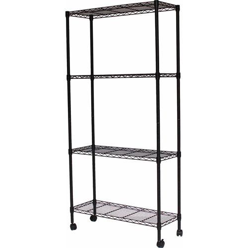 "Sandsuky 4-Shelf Wire 36""W x 14""D x 54""H Shelving Unit, Black, MWS361454"