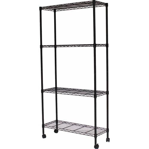 """Sandsuky 4-Shelf Wire 36""""W x 14""""D x 54""""H Shelving Unit, Black, MWS361454"""