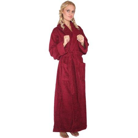Women's Shawl Collar Long Turkish Cotton Ankle Length Bathrobe ()