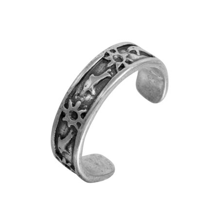 Sterling Silver Oxidized Dolphin And Sun Design Toe Ring