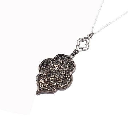 StylesILove Womens Trendy Pave Rhinestone Long Chain Quatrefoil Pendant Necklace Dangle Earrings (Gun Metal Gray - Necklace)