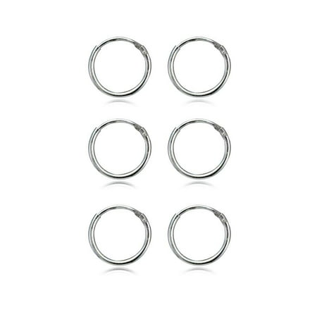 Sterling Silver 1.2mm Set of Three Endless Hoop Earrings, 10mm