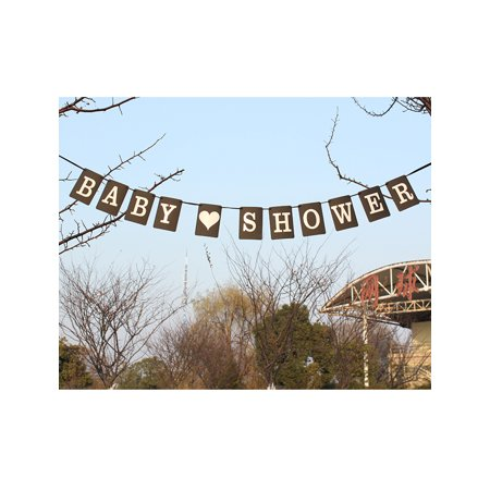 SHOWER Letter Pattern Bunting Sign Banner Photo Prop Party Decor Black - image 1 of 5