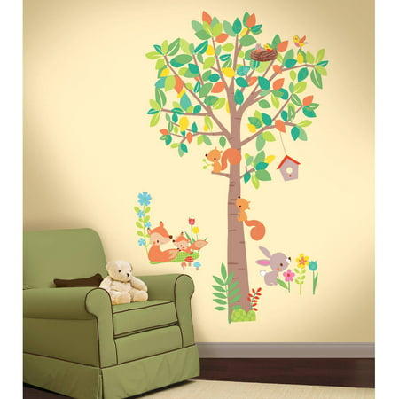 Roommates Woodland Creatures Tree L And Stick Giant Wall Decals