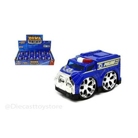 "MOTOR MAX DISPLAY DYNA MOTOR - POLICE CAR 4"" BLUE DIECAST TOY CAR 1PC NO RETAIL BOX 74403D"