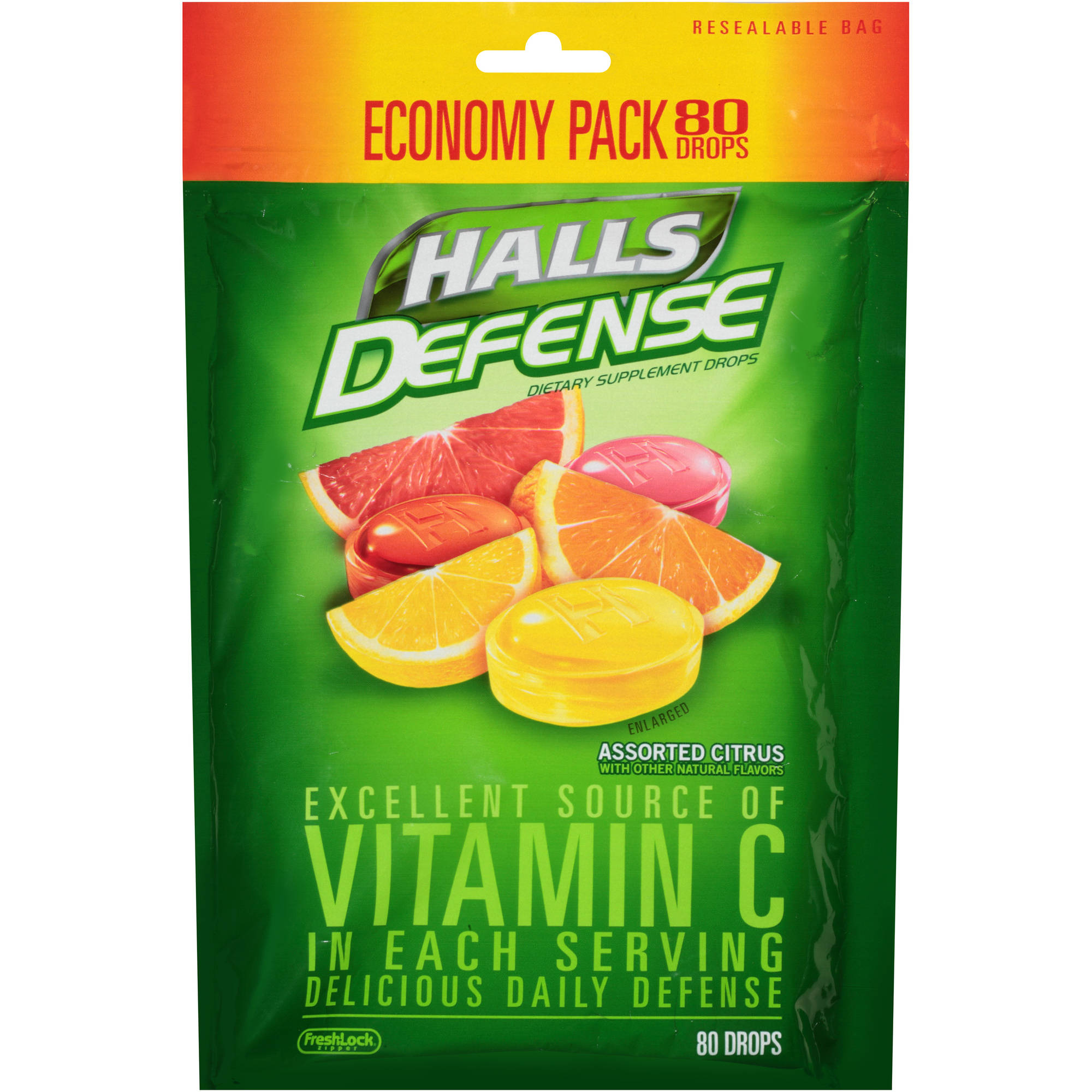 Halls Defense Assorted Citrus Vitamin C Supplement Dietary Supplement Drops, 80 count