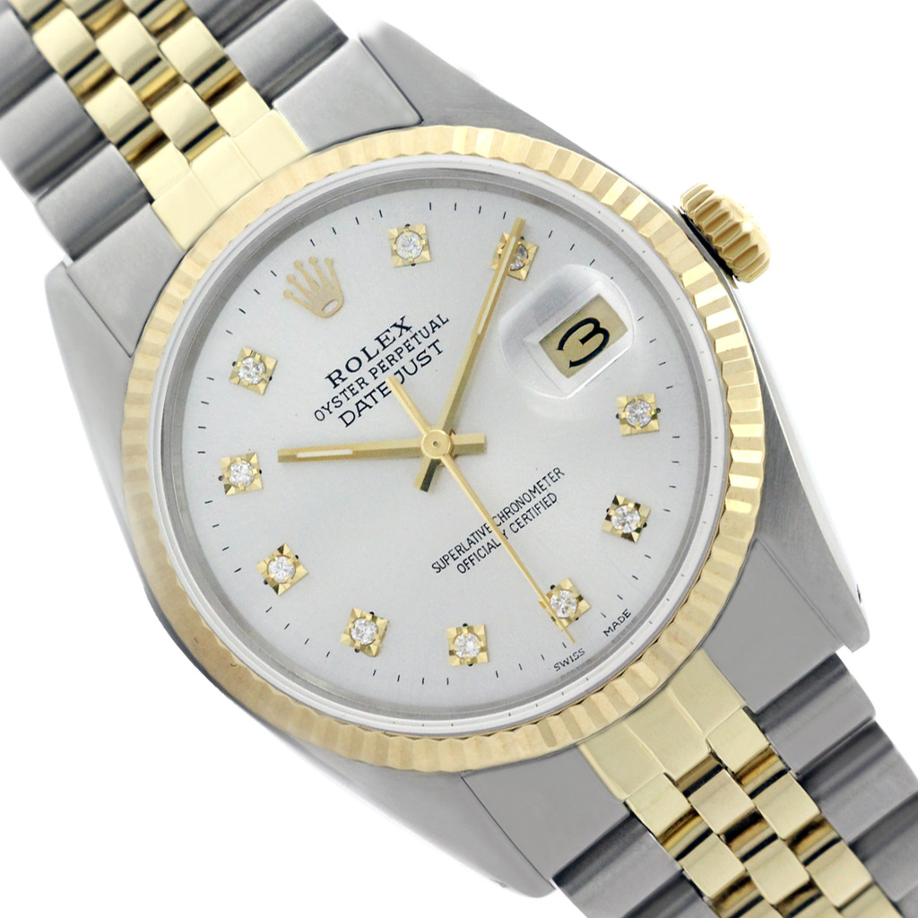 Two tone Rolex Men Datejust White Dial Genuine Diamond Watch 36mm (Certified Used) by