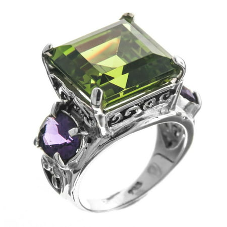 Bold 14mm Peridot And Amethyst Gemstone 925 Sterling Silver Cocktail - Green Stone Cocktail Ring