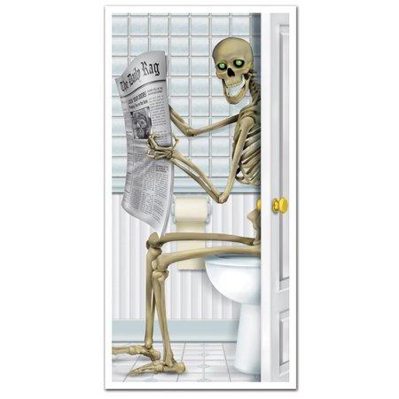 Club Pack of 12 Halloween Skeleton Restroom Door Cover Party Decorations 5'