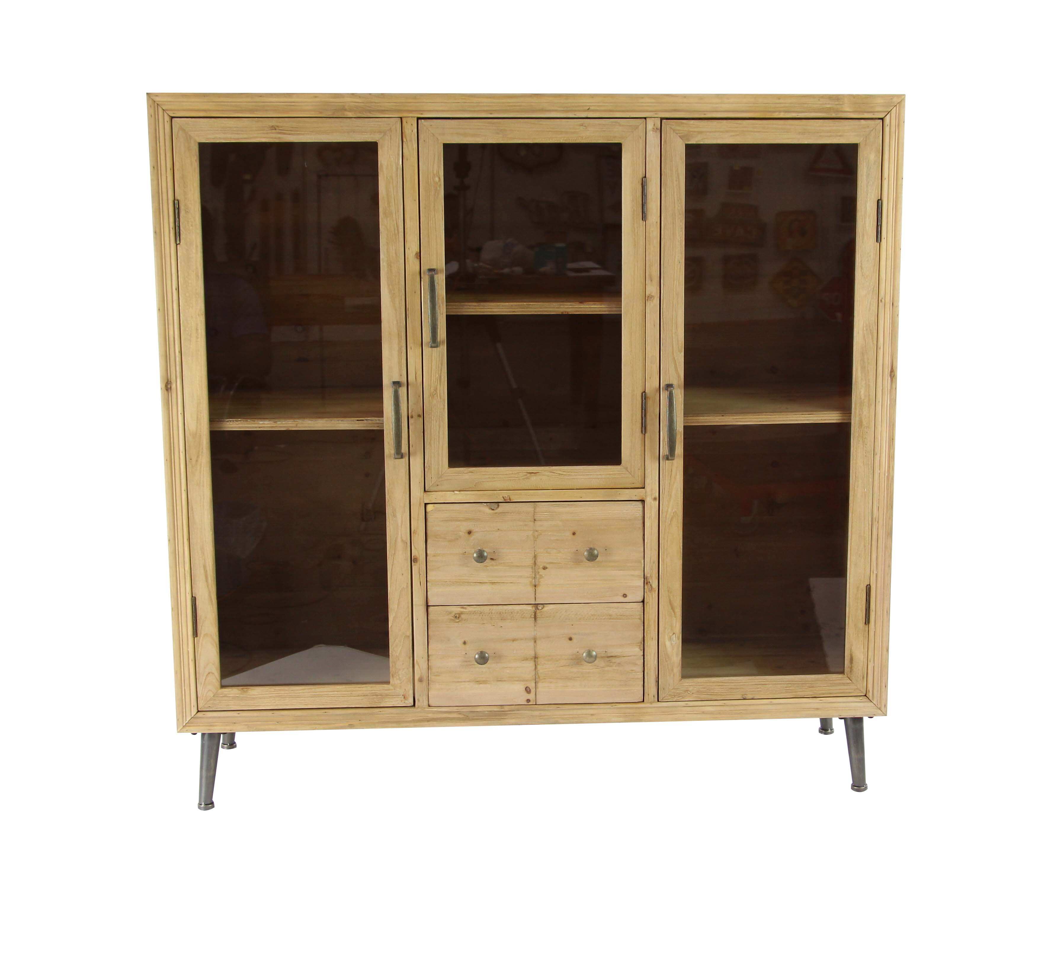 Decmode Rustic Wood And Glass Multipurpose Cabinet, Light Brown