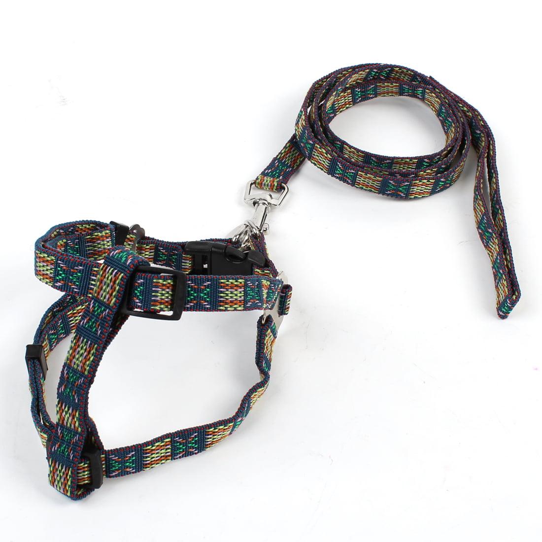 Unique Bargains Silver Tone Metal Hook Multicolor Adjustable Pet Puppy Dog Harness Vest Set Size S w Leash