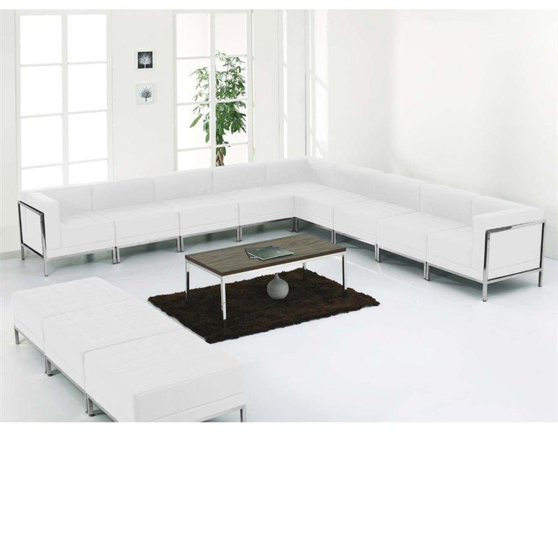 Flash Furniture 12 Piece Leather Reception Sofa Set in White