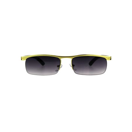 Mens Narrow Yellow Gold Half Rim Flat Top Metal Rim Pimp Sunglasses Smoke Lens