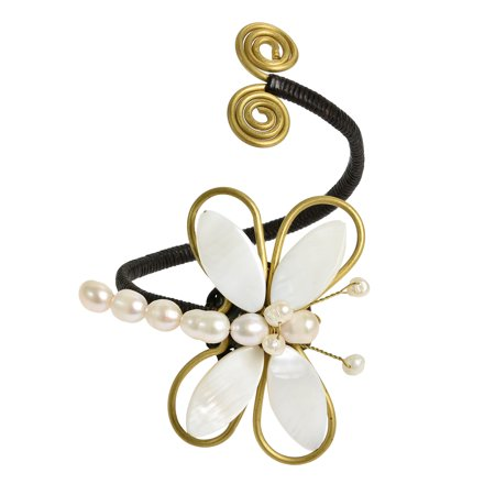 Chic Organic White Cultured Freshwater Pearl-Mother of Pearl Dragonfly Handmade Brass Cuff