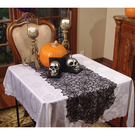 lace spider web table runner halloween decoration. Black Bedroom Furniture Sets. Home Design Ideas