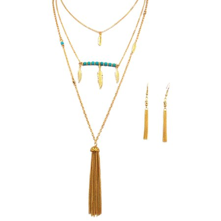 (Fashion Gold Chain Tassel & Feather Charm Long Strand Necklace Earrings Set)