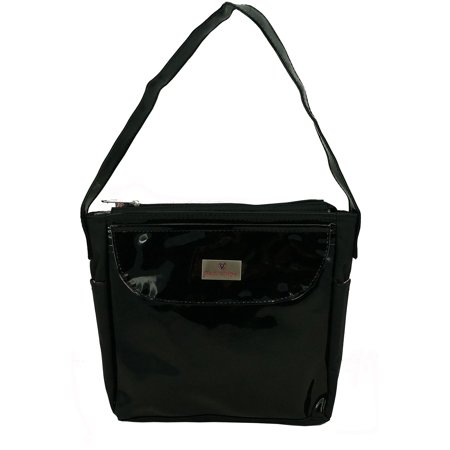 - Woman Purse Medium Handbag PVC Lady Synthetic Leather Tote With Zippered Main Pocket Black