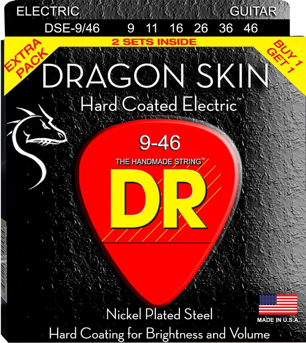 DR Strings Dragon Skin (2 Pack) Hard Coated Electric Guitar Strings (9-46) by DR Strings