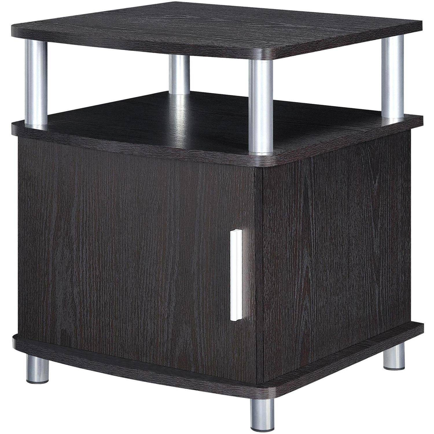 storage end tables for living room. Ameriwood Home Carson End Table with Storage  Espresso Silver Walmart com
