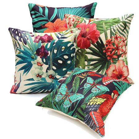 Meigar Tropical Plant Flamingo Couch Cushion Pillow Covers 18x18 Square Zippered Cotton Linen Standard Decorative Waist Throw Pillow Covers Slip Case Protector for Sofa Chair Seat ()