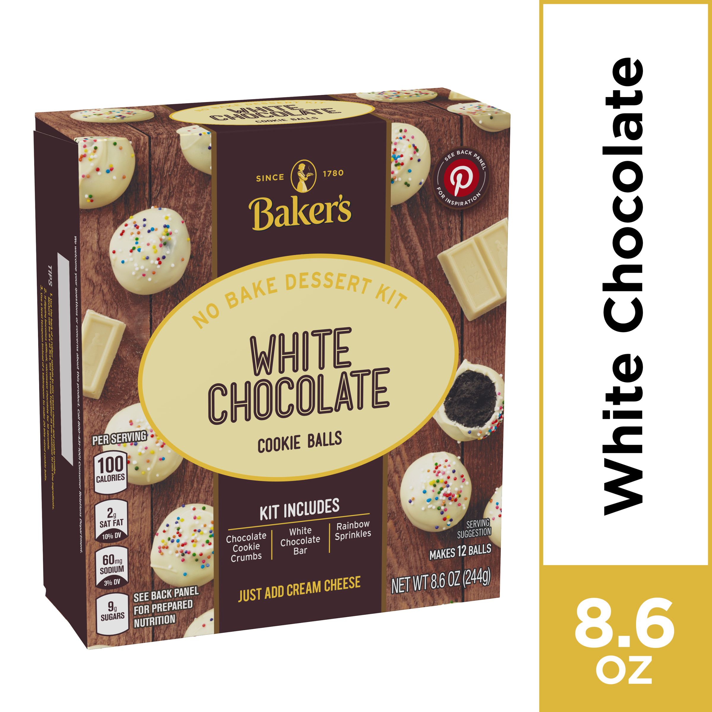 Baker S White Chocolate Cookie Balls No Bake Dessert Kit With Cookie Crumbs White Chocolate Bar Rainbow Sprinkles 8 6 Oz Box Walmart Com Walmart Com