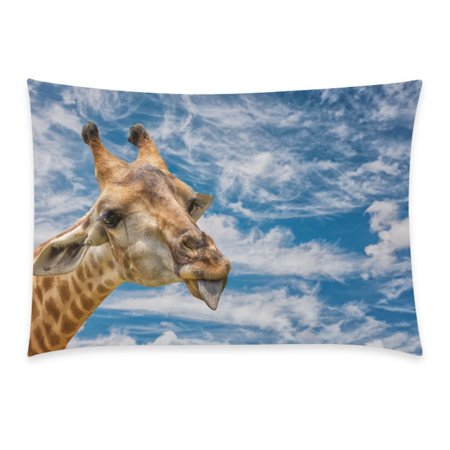 ZKGK Cute Animal Beige Vitality Giraffe Home Decor, Colorful Soft Pillowcase 20 x 30 Inches,This Is A Lovely Giraffe Blue Sky Green Grass Pillow Cover Case Shams - Sky Is Blue Grass Is Green Halloween