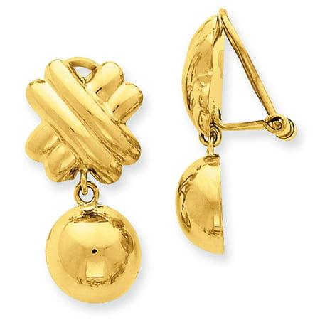 - NEW 14k Yellow Gold Polished Non pierced Fancy Dangle Ball Earrings 28mm x 13mm