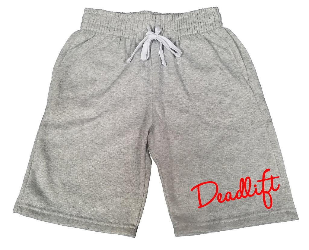 Mens Signature Red Deadlift V255 Black Fleece Jogger Sweatpant Gym Shorts Large Black