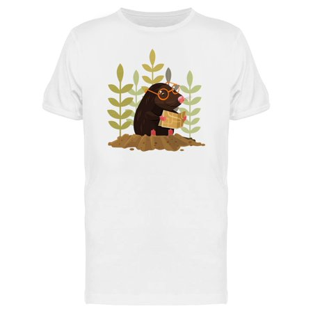 Cute Happy Mole Reading Cartoon Tee Men's -Image by (Famous Men With Moles On Their Face)