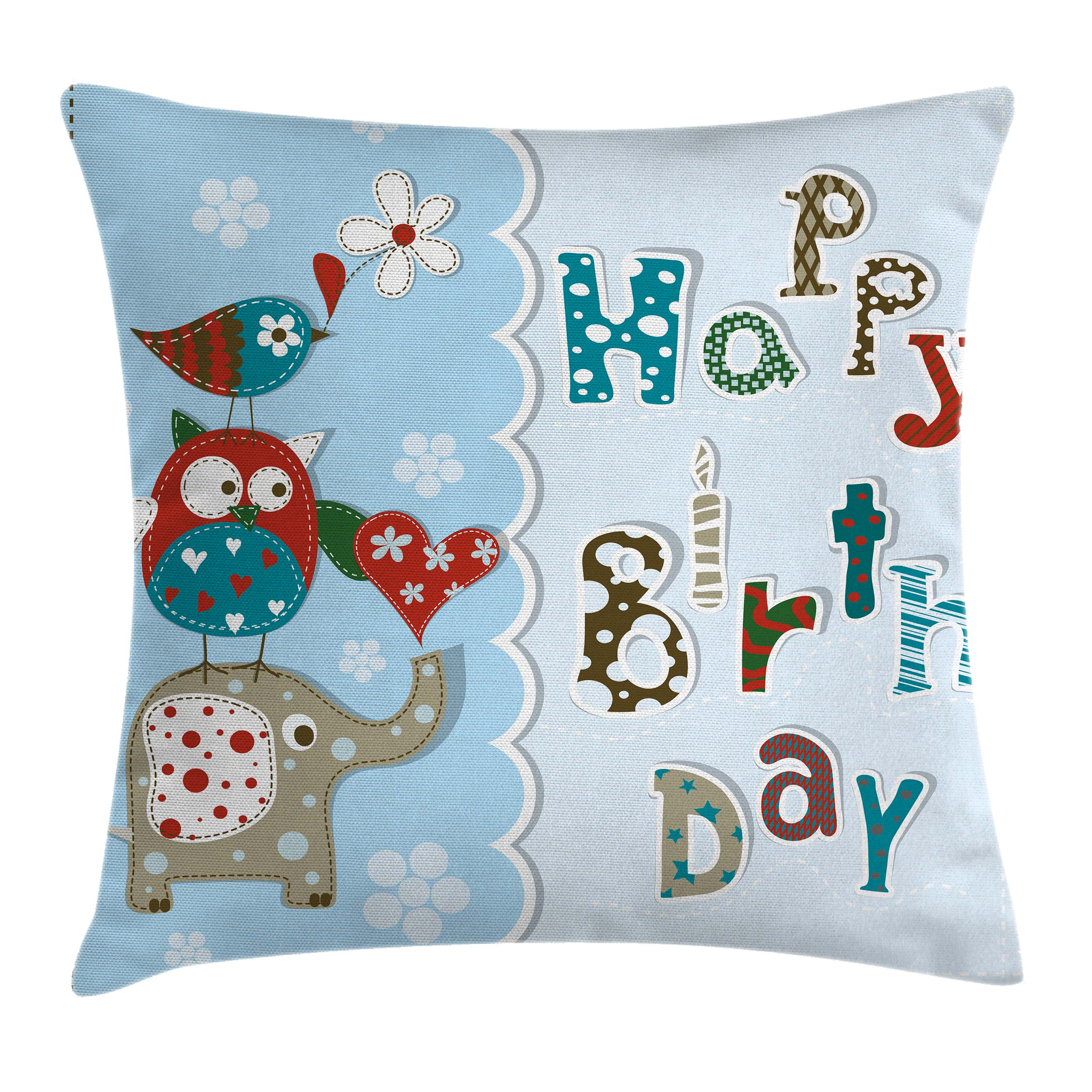 Birthday Decorations for Kids Throw Pillow Cushion Cover, Patchwork Inspired Owl Birds Elephant Flowers, Decorative Square Accent Pillow Case, 16 X 16 Inches, Sky Blue and Light Blue, by Ambesonne