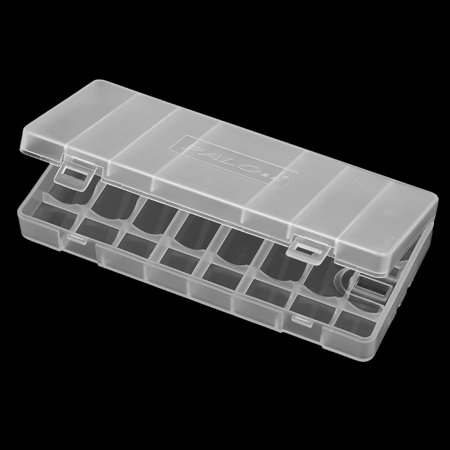 1Pc PALO Transparent AA Battery Storage Box Case Container Durable Plastic Battery Holder with Lid Holds 8 AA / AAA Batteries