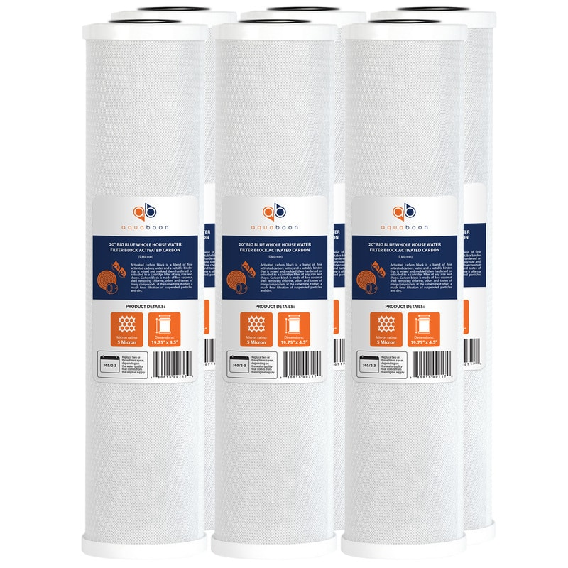"""6PK of Aquaboon Big Blue Whole House 5µm Coconut Shell Carbon Block Water Filter 20""""x4.5"""""""