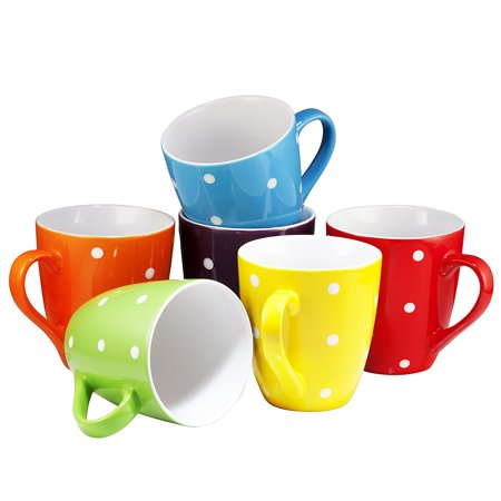- Coffee Mug Set Set of 6 Large-sized 16 Ounce Ceramic Coffee Mugs Restaurant Coffee Mugs By Bruntmor (Polka Dot)