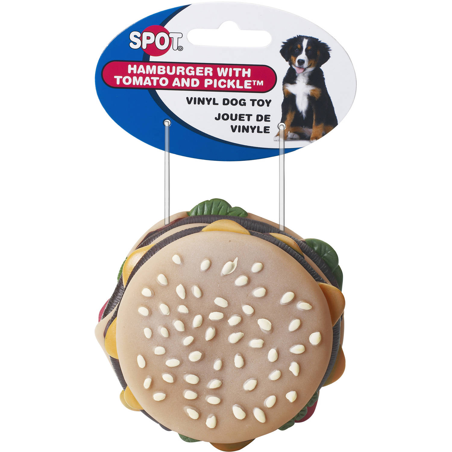"Spot 03086 3-1/2"" Vinyl Hamburger with Tomato and Pickle Dog Toy"