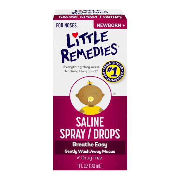 (2 pack) Little Remedies Saline Spray/Drops Newborn, 1.0 FL OZ