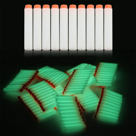 100pcs Refill Bullet Darts 7.2cm Foam Toy Kids Gun for Elite Blaster-Suction Cup,Fluorescent White - Toy Gun With Sound