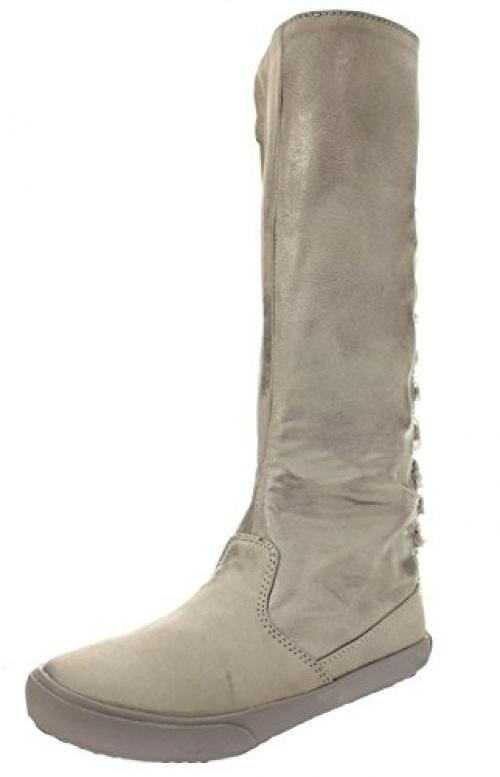 a_line 6-A0868 Girls Tall Pewter Metallic Nubuck Boots with Lace Up Back EU 30 / US 12