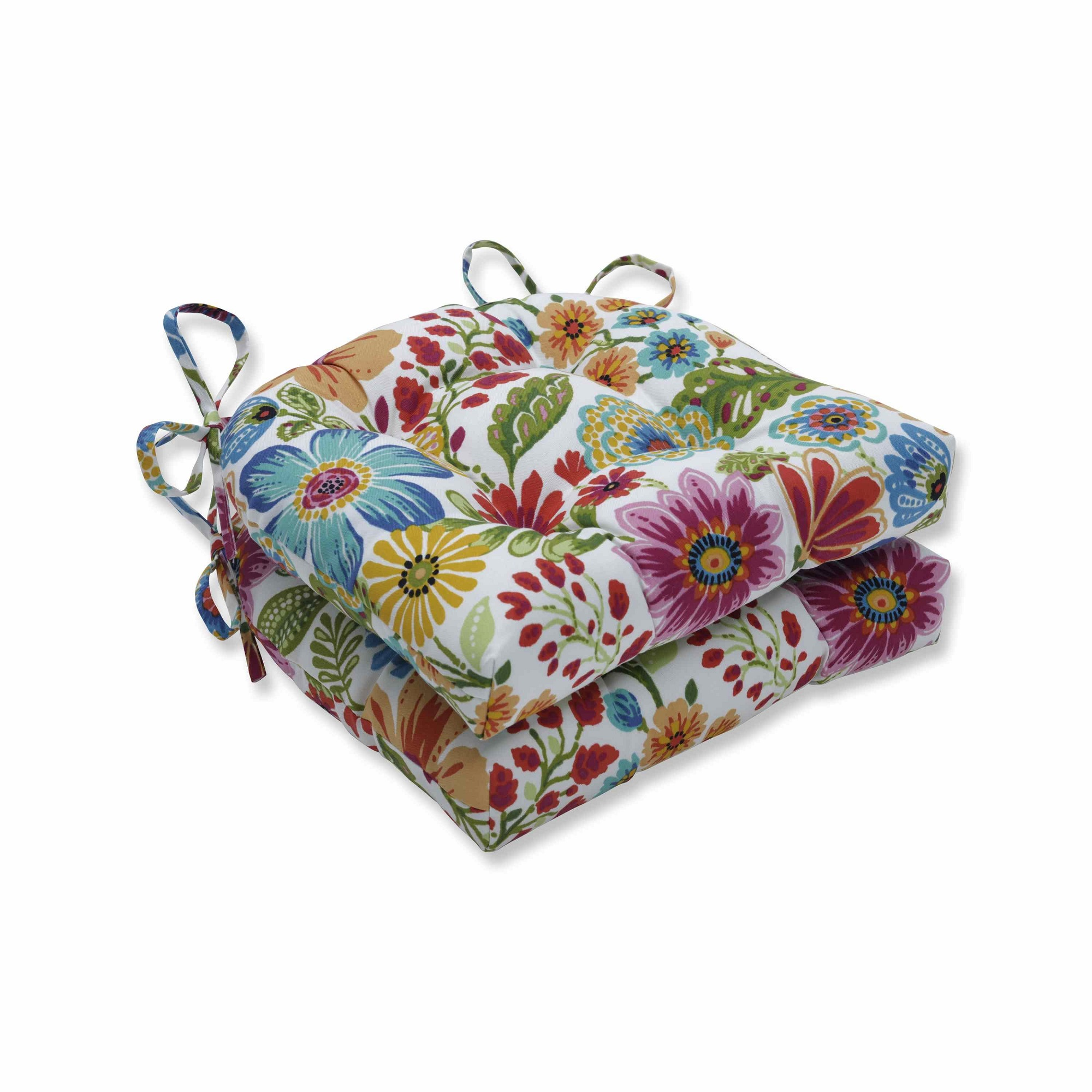 Set of 2 Vibrantly Colored Floral Pattern Reversible Chair Pads 16""