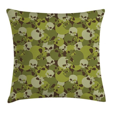 Camo Throw Pillow Cushion Cover, Militaristic Composition of Skulls Scary Head Skeletons Soldiers Grunge, Decorative Square Accent Pillow Case, 16 X 16 Inches, Green Light Green Beige, by Ambesonne Soldier Throw Pillow