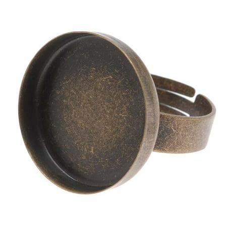 Brass Adjustable Ring (Antiqued Brass 20mm Round Bezel Adjustable Ring)