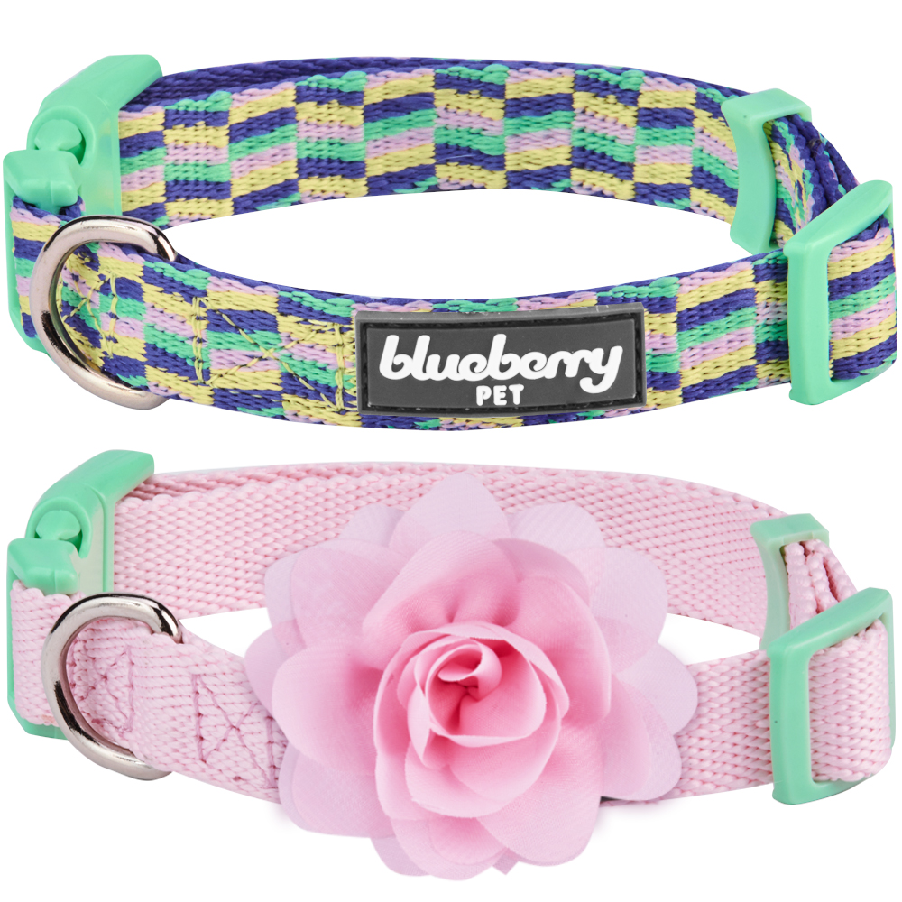 "Blueberry Pet Pack of 2 Mix and Match Pretty Picks Dog Collar for Puppies & Small Dogs with Detachable Pink Flower, S, Neck 12""-16"""