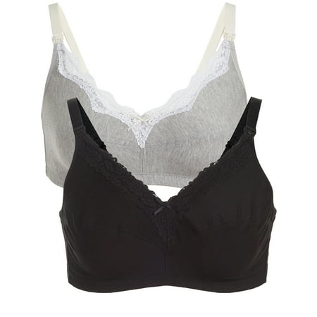 Loving Moments by Leading Lady Maternity to Nursing Wirefree Bra 2 Pack, Style L347 ()