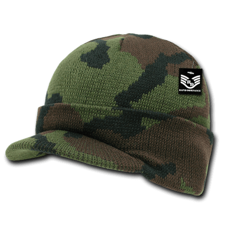 Rapid Dominance Woodland - Military Camouflage Camo GI Jeep Beanies Beany For Men Women with Visor Knit Watch Caps Hats RapDom ()